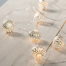 10 Silver Maroq Moroccan Orb Battery Operated LED Indoor Fairy String Lights