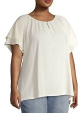 Terra & Sky Women's Plus Size Textured Ruffle Sleeve Peasant Top Ivory 3X
