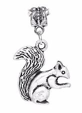 Squirrel Woodland Animal Woods Dangle Charm for Silver European Bead Bracelets