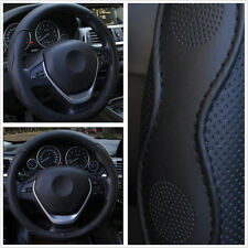 Auto Car PU Leather Steering Wheel Cover Embossed  Black Sport Style Four Season