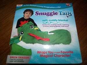 NEW As Seen on TV Snuggie Tails Green Dragon Blanket