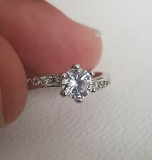 Engagement Ring Sterling Silver 925 Glass Crystal Stones Size P Q