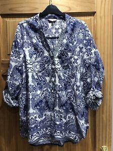 River Island Blue & White Pattern Shirt Size 12