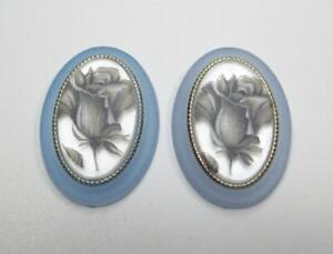 Vintage Cameos 25X18mm Silver Rose Cabochons Matte Blue Crystal Base German 2pcs
