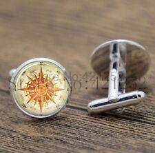 Cufflinks Glass Silver North East South West Compass New & Sealed
