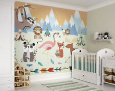 Animal Reservation, Sloth, Lion, Flamingo Children's Nursery Wall Mural Wall Art