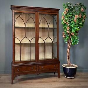 Attractive Large Antique Edwardian Mahogany Display Cabinet With Base Drawers