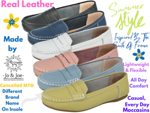 Ladies Jo & Joe Real Leather Casual Slip On Moccasins Flat Boat Shoes Loafers
