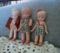 VINTAGE- ANTIQUE JAPAN BISQUE DOLLHOUSE DOLLS **  ADORABLE LOT OF 3 GIRLS