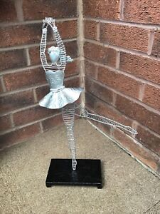 """UNUSUAL SILVER WIRE BALLERINA WITH A BLACK GLITTER WOODEN STAND 19.5"""" TALL"""