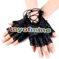Gothic Punk Women's Lambskin Leather Lace Trim Straps Fingerless Gloves Black