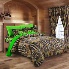 7 PC BLACK CAMO COMFORTER AND BIOHAZARD GREEN SHEET SET KING CAMOUFLAGE WOODS