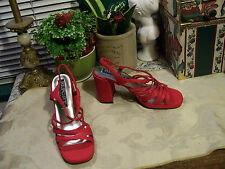 Report Strappy/Open Toe/Slingback Heels SZ 6.5M Shimmery Cherry Red...New