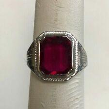 14k White Gold Ruby Ring Size 8