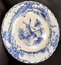 """Antique Heavy Victorian English Grimwades Blue """"Delph"""" 9.5""""/24cm Porcelain Plate"""