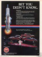 1984 Print Ad NGK Spark Plug Shirley Muldowney Dodge Top Fuel Dragster Ram Laser