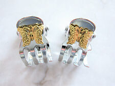 Tiny mini silver metal hair claw clips with gold butterflies (Set of two)