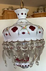 Ant Bohemian Czech white glass overlay cut to cranberry hanging lamp w prisms