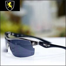 KHAN Sports Biker Sunglasses Driving Trendy Fashion Eyewear Sliver Metal Black