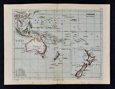 1885 Cortambert Map Oceania South Pacific Australia New Zealand Tahiti Hawaii