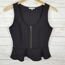 Valleygirl Top Size M Black Peplum Sleeveless