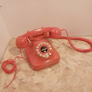 Pottery Barn Pink Timeline Grand Phone Rotary Style Push Button Phone