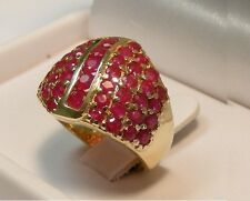 10K YELLOW GOLD 3-1/2 cttw RUBY CLUSTER RING size 6-3/4  ~ 8.0 grams