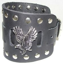 Wide Black Leather Watch Band With American Eagle Made in USA Buckle Closure