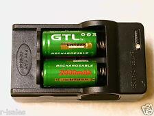 2 pc GTL 16340  BATTERY CR123A 3.6v  LITHIUM LIR123A 2000mAh w/ CHARGER GRN