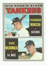 1970 Topps Baseball Thurman Munson RC #189 (Book Value $100.00)
