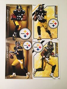 """New Pittsburgh Steelers Fathead Tradeable Bundle 5"""" x 7"""" with Logos"""