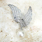 18K WHITE GOLD PLATED AND GENUINE AUSTRIAN CRYSTAL & WHITE PEARL WINGS BROOCH