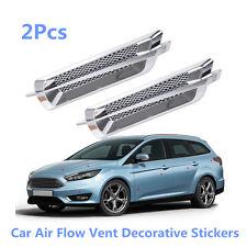 2x New Chrome Side False Vent Car Auto SUV Air Flow Fender Portable Cover Intake