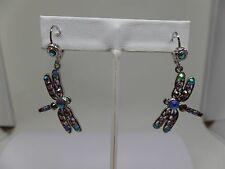 KIRKS FOLLY LAVENDER DREAM DRAGONFLY LEVERBACK EARRINGS  SILVER TONE~ NEW 2017!
