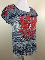 Vanessa Virginia Anthropologie Womens Sz XS Red Blue White Embroidery Shirt Top