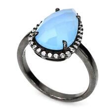 Anillo Calcedonia azul . 925 rodio negro