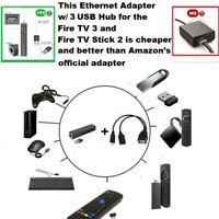 Für Amazon Fire 3 PORT Fast USB HUB LAN Ethernet Anschluss Port und OTG Adapter