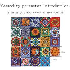 24pcs Carreaux Autocollant Style Marocain Mural Mosaïque Table Décalques Décor