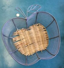 Large Apple Shaped Gray Metal Wire Fruit Basket With Wicker Bottom