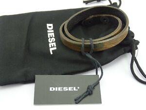 DIESEL A-TURN Herren Armband Leder Druckknopfverschluss Wickelarmband Bracelet