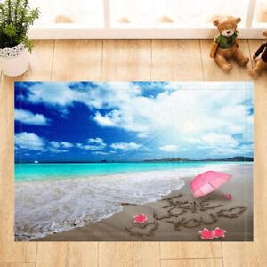 Beach and Pink Umbrella Mat Flannel Rug Anti-slip Floor Mat Door Mat