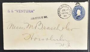 """USA to HAWAII 1901 """"Received Outside of Mail"""" o Ship SS Ventura Spreckels Cover"""
