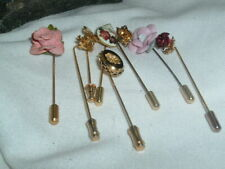 Lapel Pin Stickpin In Gift Box Vintage Collection Of 8 Floral Mens