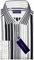 NEW RALPH LAUREN PURPLE LABEL BLACK & WHITE DECO STRIPE DRESS SHIRT XL 44 17.5