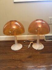 Pair Mid-Century GILBERT Mushroom Dome Table LAMPs Nutron Plastics NOS Orange