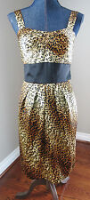 Bahari Women's Satin Leopard Animal Print Sexy Dress Black Tie Sash Size 4