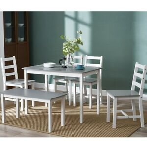Solid Wooden Dining Table and 4 Chairs Bench Set Home Kitchen Furniture Optional