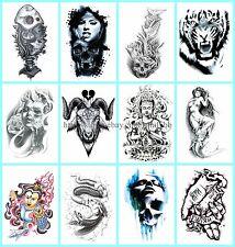 "US Seller, 10 sheets fake tatoos day of death tiger 8.25"" temporary tattoo"