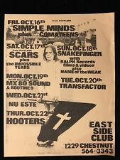 ORIGINAL CONCERT FLYER-SIMPLE MINDS-THE HOOTERS-East Side Club Philly