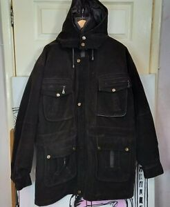 Mens Size 48 Vintage 90s DESIGNER Vitagliano GV Italy Moda Faux Suede Warm Coat